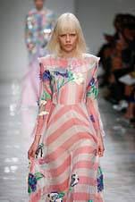 Milan, Italy – September 25, 2015 – A model walks the runway at the Blumarine Spring/Summer 2016 fashion show during Milan  fashion week.
