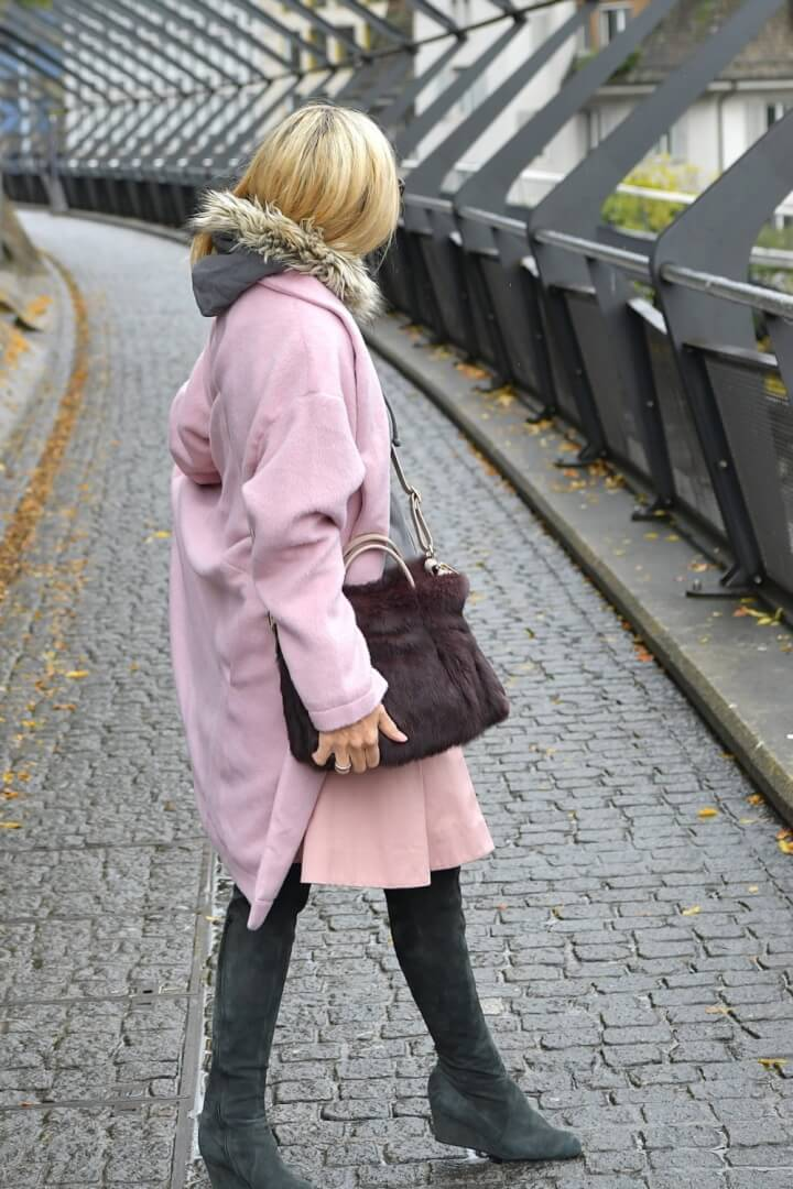 Coat - ASOS, Skirt - MaxMara, Hoodie - Hollister, Boots - Unknown Paris Vintage, Bag - AGL