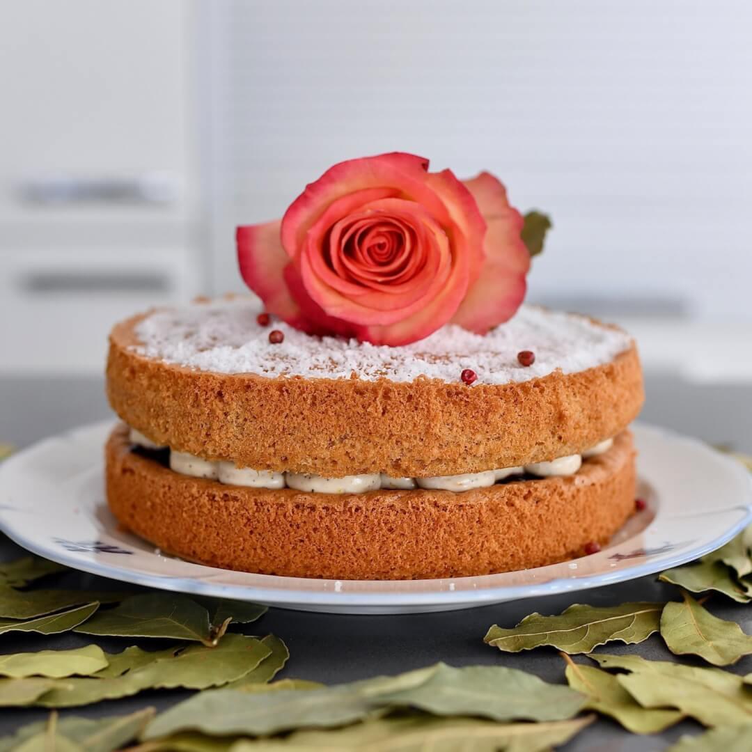 Almond-coconut sponge cake & coffee-orange cream