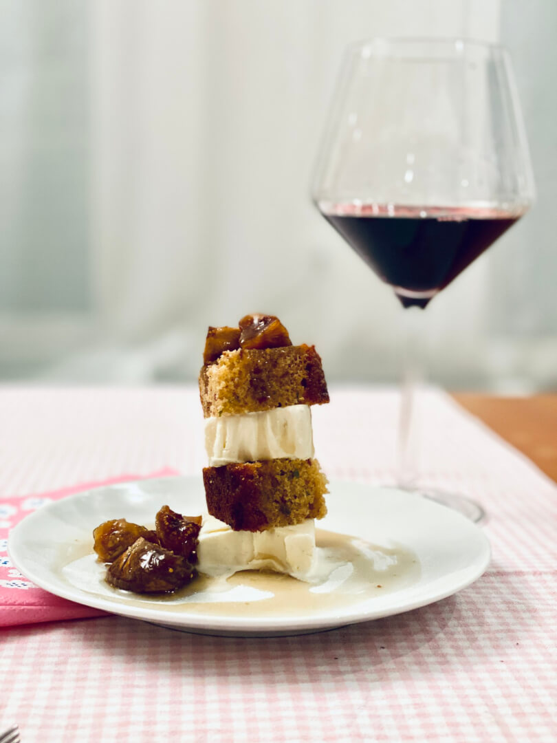 Fig and Date Ice-Cream Cake with Brandy Syrup